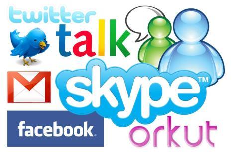 Exemplos de serviços de mensagens instantâneas (leitura e voz) e redes sociais. Na montagem: twitter, google talk, msn, gmail, skype, facebook e orkut.